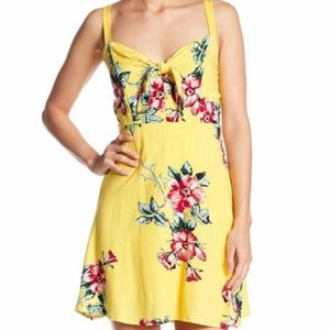 Yellow Hibiscus Floral Print Dress by Socialite L